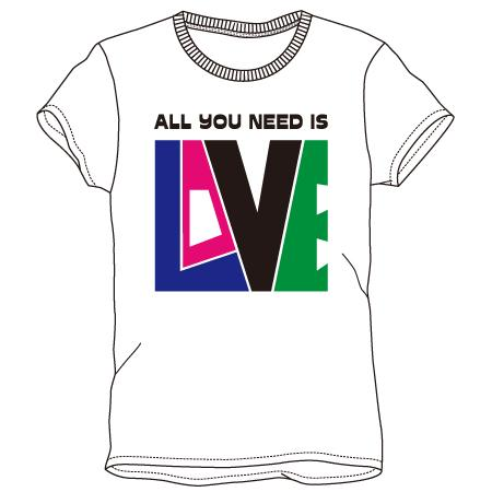 レディースプリントTシャツ:love