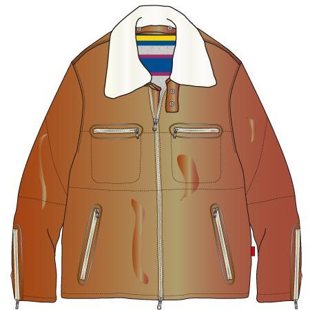 襟ボアレザージャケットのイラスト