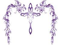 トライバルの龍とクロスを組み合わせた柄のイラスト