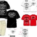 フェイクレイヤードTシャツと7部丈ショートパンツ