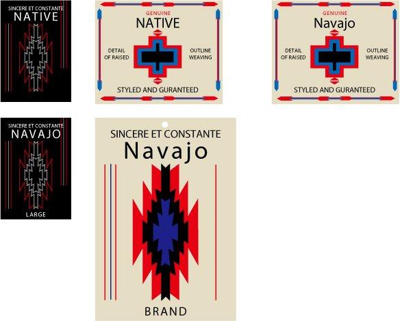ネイティブアメリカン、ナホバスタイルのネーム、下げ札
