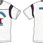ティラノサウルスのプリント柄のフットボールTシャツ