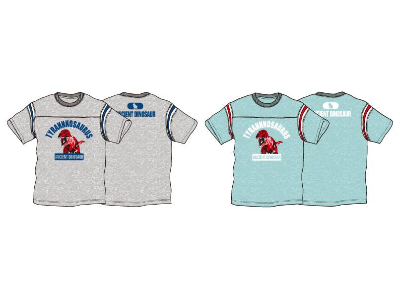 ティラノサウルスのプリント柄のライン入りフットボールTシャツ