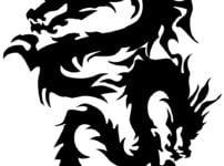 和柄の二頭龍のイラスト