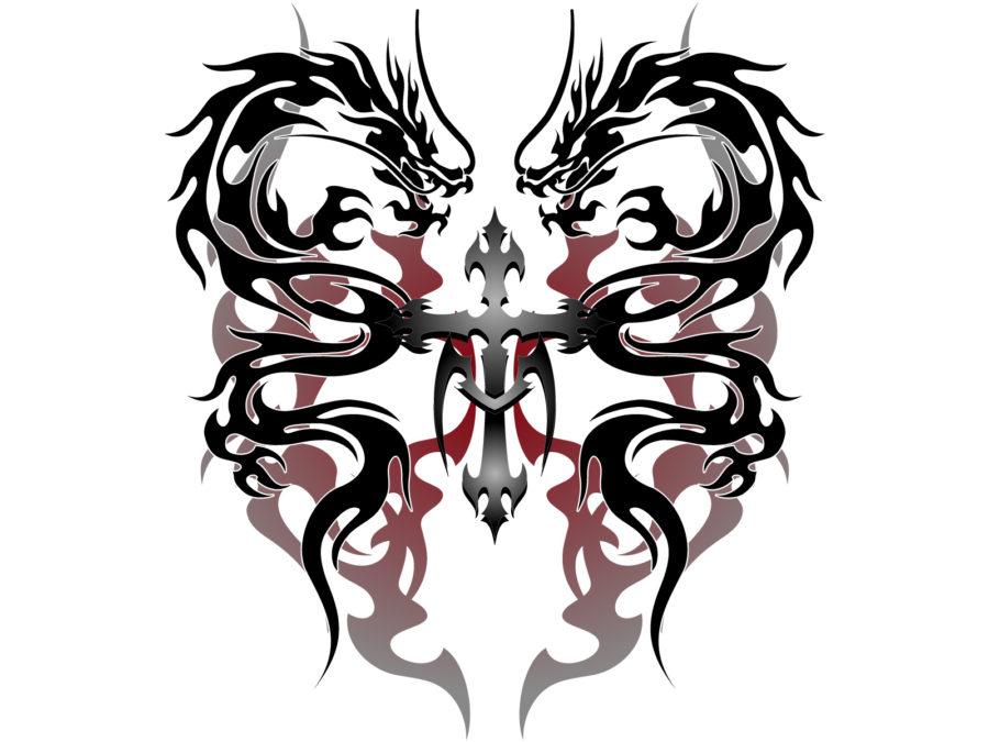 トライバル柄の龍のイラスト素材 - 【トライバル龍-003】