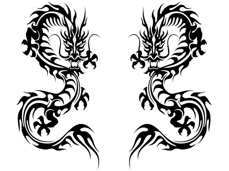 トライバル柄の龍のイラスト素材 - 【トライバル龍-008】