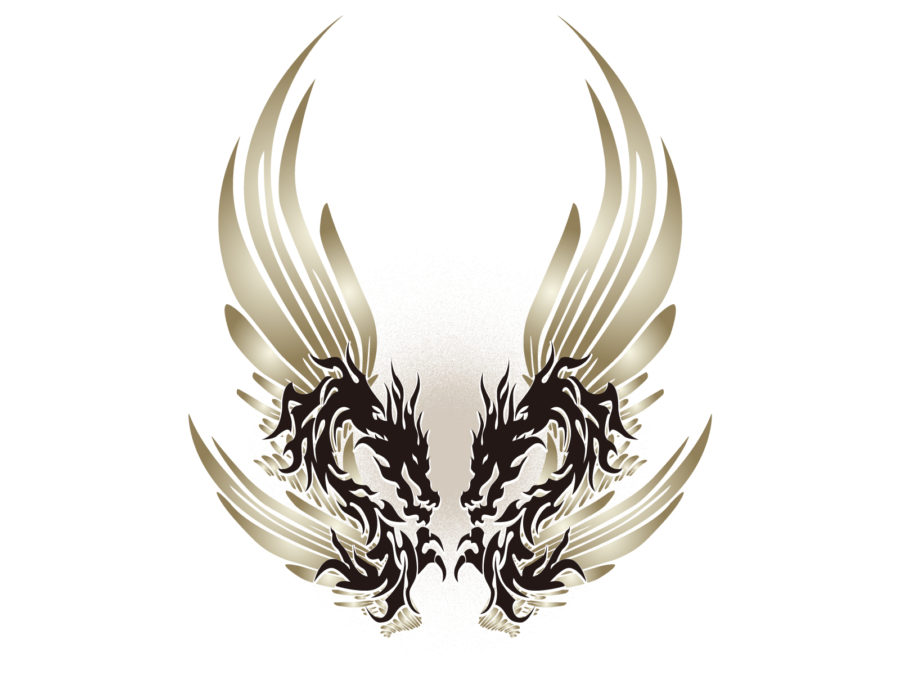 トライバル柄の龍のイラスト素材 - 【トライバル龍-009】