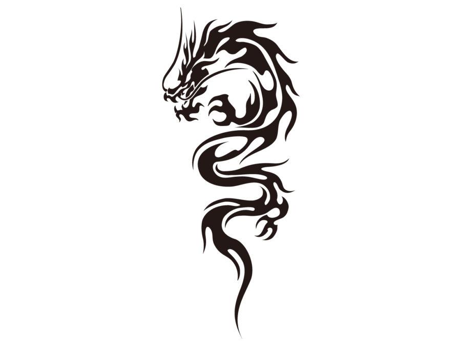 トライバル柄の龍のイラスト素材 - 【トライバル龍-010】