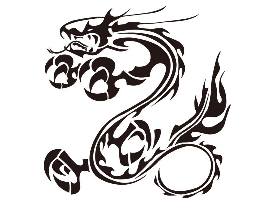 トライバル柄の龍のイラスト素材 - 【トライバル龍-011】