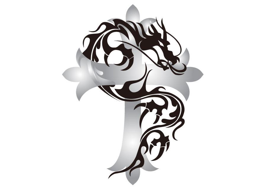 クロスとトライバル柄の龍のイラスト素材 - 【トライバル龍-014】